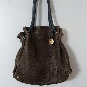 Furla Alligator Embossed Leather Handbag